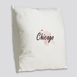 Chicago Illinois City Artistic Burlap Throw Pillow