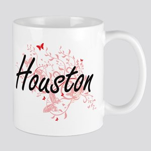 Houston Texas City Artistic design with butte Mugs