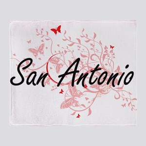 San Antonio Texas City Artistic desi Throw Blanket