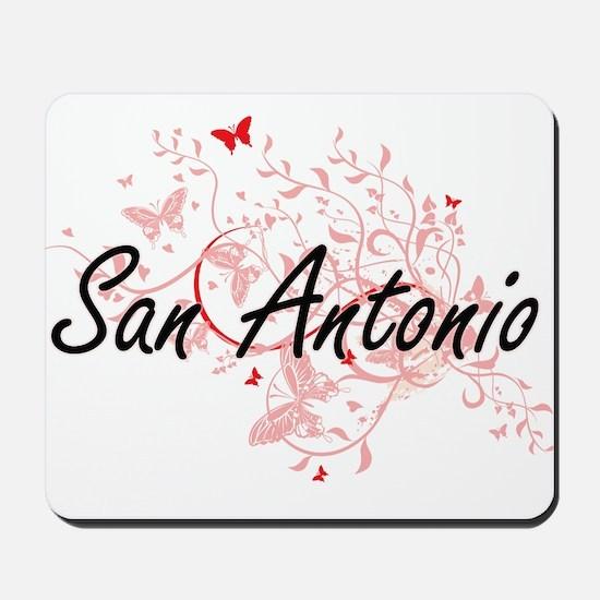 San Antonio Texas City Artistic design w Mousepad