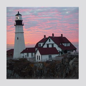 Portland Headlight Sunrise Tile Coaster