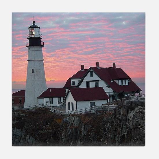 Portland Headlight Sunrise Tile Coaster