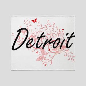 Detroit Michigan City Artistic desig Throw Blanket