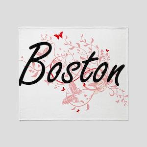 Boston Massachusetts City Artistic d Throw Blanket