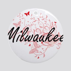 Milwaukee Wisconsin City Artistic d Round Ornament