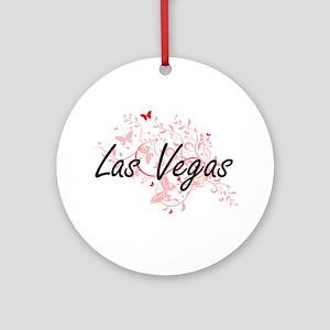 Las Vegas Nevada City Artistic desi Round Ornament