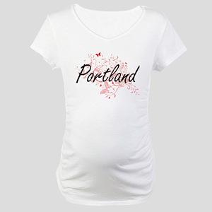 Portland Oregon City Artistic de Maternity T-Shirt