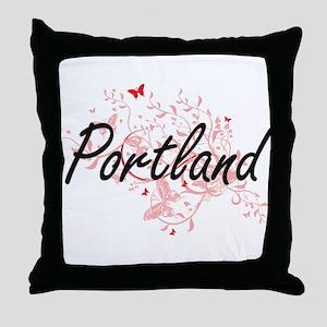 Portland Oregon City Artistic design Throw Pillow