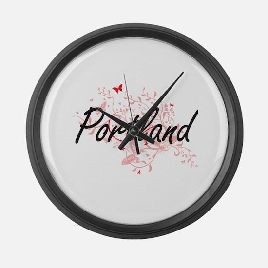 Portland Oregon City Artistic des Large Wall Clock