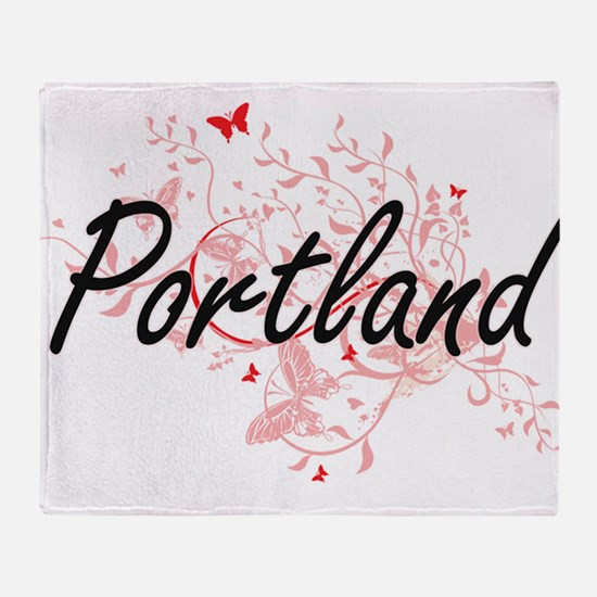 Portland Oregon City Artistic design Throw Blanket