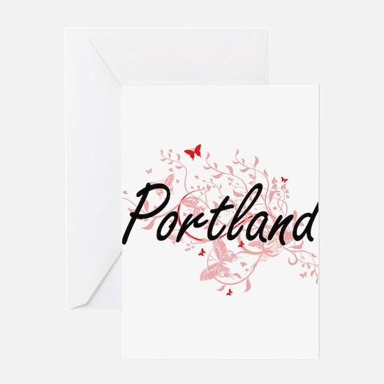 Portland Oregon City Artistic desig Greeting Cards