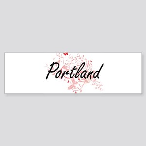 Portland Oregon City Artistic desig Bumper Sticker