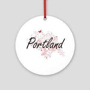 Portland Oregon City Artistic desig Round Ornament