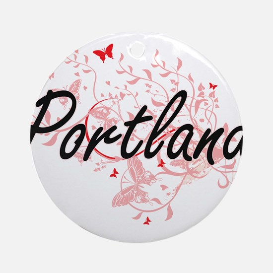 Portland Oregon City Artistic desig Round Ornament