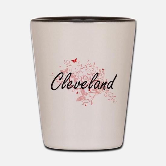 Cleveland Ohio City Artistic design wit Shot Glass