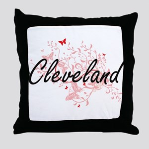 Cleveland Ohio City Artistic design w Throw Pillow