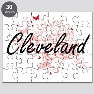 Cleveland Ohio City Artistic design with bu Puzzle