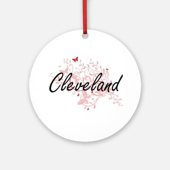 Cleveland Ohio City Artistic design Round Ornament