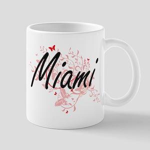 Miami Florida City Artistic design with butte Mugs