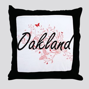 Oakland California City Artistic desi Throw Pillow