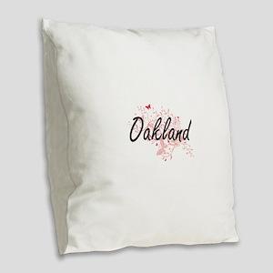 Oakland California City Artist Burlap Throw Pillow