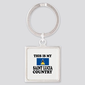 This Is My Saint Lucia Country Square Keychain