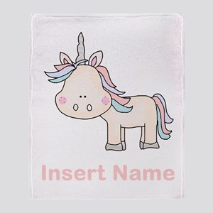Little Unicorn Personalized Throw Blanket