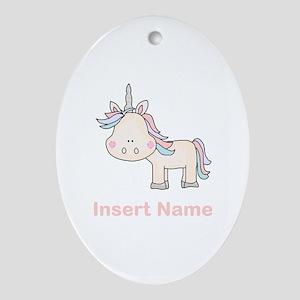 Little Unicorn Personalized Oval Ornament