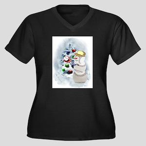 Baseball Snowman xmas Plus Size T-Shirt
