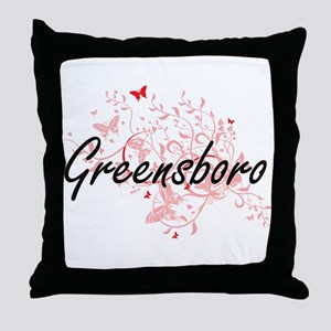 Greensboro North Carolina City Artist Throw Pillow