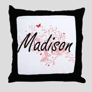 Madison Wisconsin City Artistic desig Throw Pillow