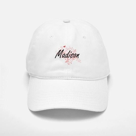 Madison Wisconsin City Artistic design with bu Baseball Baseball Cap