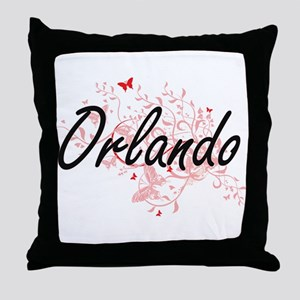 Orlando Florida City Artistic design Throw Pillow
