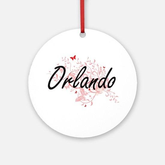 Orlando Florida City Artistic desig Round Ornament