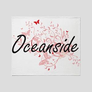 Oceanside California City Artistic d Throw Blanket