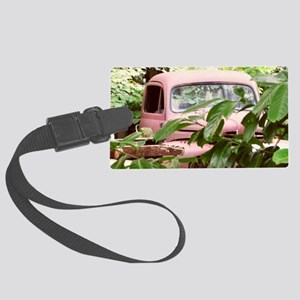 Old Trucks In The Weeds Large Luggage Tag