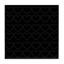 Black/white Hearts Print Tile Coaster
