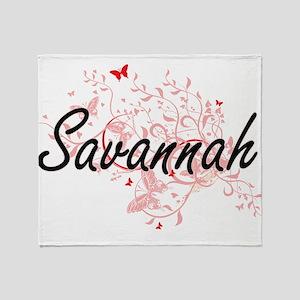 Savannah Georgia City Artistic desig Throw Blanket