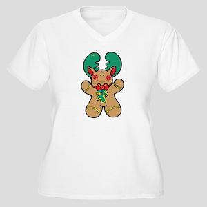 Gingerbread Reindeer Women's Plus Size V-Neck Tee