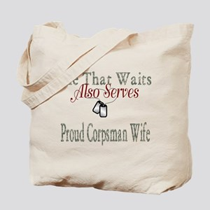 proud corpsman wife Tote Bag