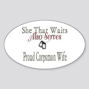 proud corpsman wife Oval Sticker