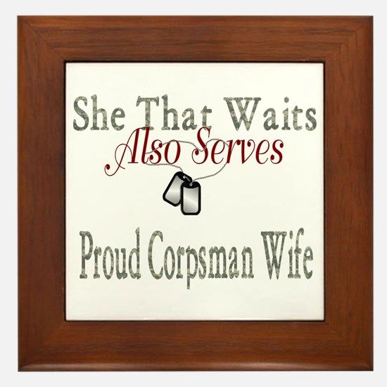 proud corpsman wife Framed Tile