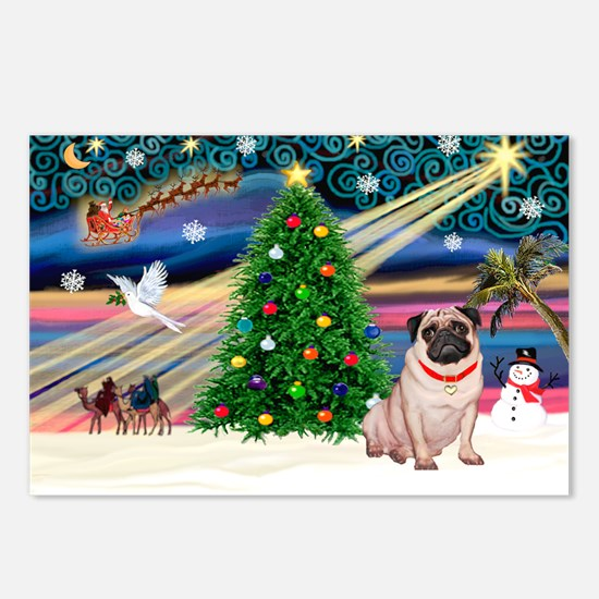 Xmas Magic/Pug (21F) Postcards (Package of 8)