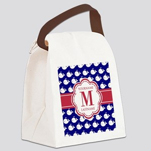Blue Whales, Red Custom Monogram Canvas Lunch Bag