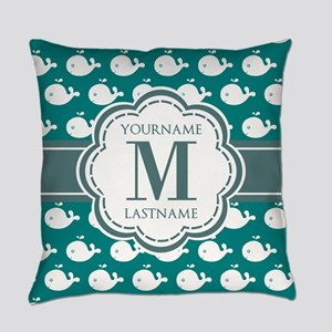 Cute Whales, Teal Monogrammed Everyday Pillow