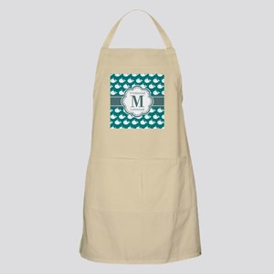 Cute Whales, Teal Monogrammed Apron