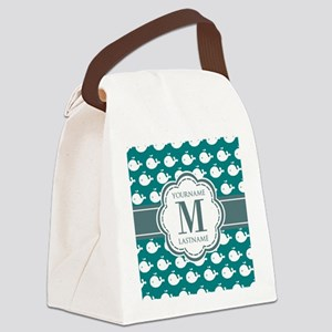 Cute Whales, Teal Monogrammed Canvas Lunch Bag