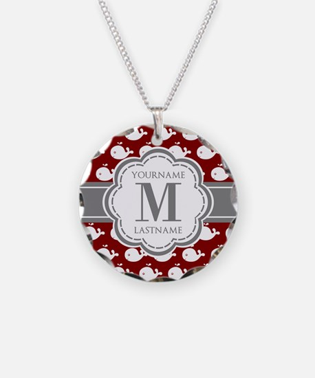 Red Whales, Gray Custom Mono Necklace