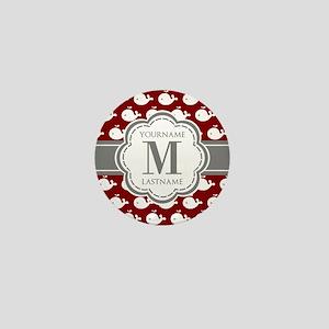 Red Whales, Gray Custom Monogram Mini Button