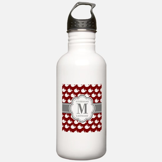 Red Whales, Gray Custo Water Bottle